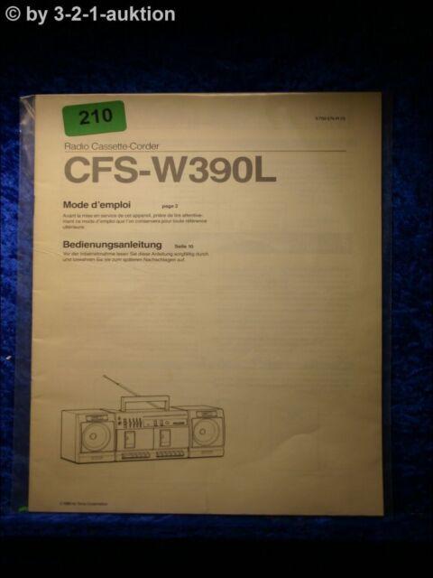 Sony Manual Cfs W390l Cassette Corder   0210