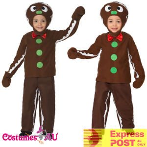 Kids-Little-Ginger-Man-Costume-Boys-Child-Brown-Book-Week-Gingerbread-Xmas