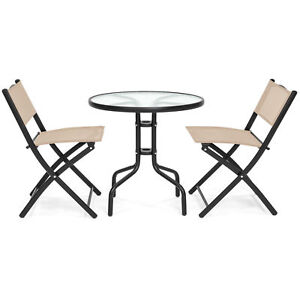 Strange Details About Tan Beige Round Glass Table 2 Folding Chairs Bistro Dining Set Outdoor Furniture Cjindustries Chair Design For Home Cjindustriesco