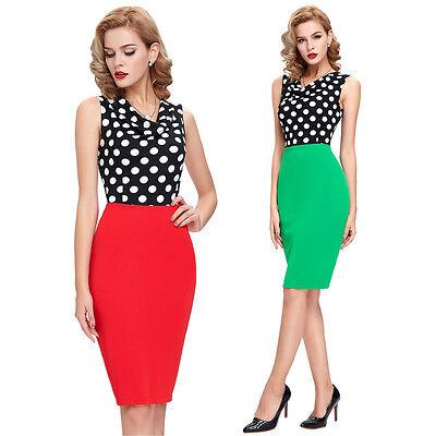 Cheap Women Wear to Work Skirts Vintage Polka Dots Pencil Cocktail Bodycon Dress