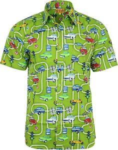 Run-amp-Fly-Mens-60s-Car-Print-Short-Sleeved-Shirt-VTG-Retro-Hawaiian-Retro