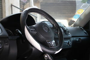 BlackWhite Leather Steering Wheel Cover A For Acura - Acura rsx steering wheel cover