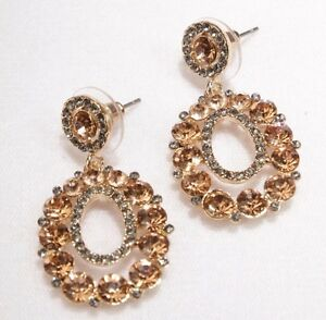 Pierced-Earrings-Rose-Gold-Super-Bling-1-5-inch-Drop-Wedding-Formal-Prom-Pageant