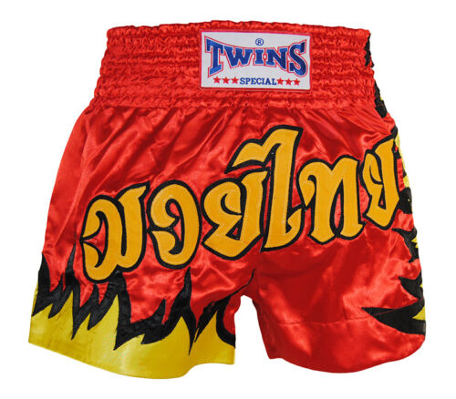 Short boxe musculation kick boxing Muay Thai TWINS Fire Feu polyester satin