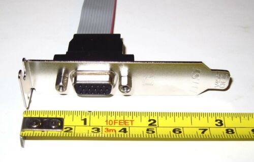 """Low Profile Half Height Size Bracket with 6/"""" Long VGA CRT DSUB Cable 15cm"""