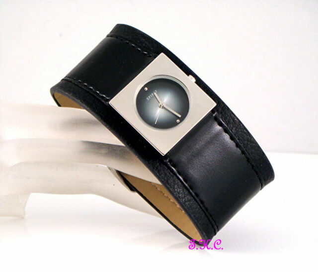 Wide Retro 60s Spirit Black & Silver Leather Kahuna Style Ladies Cuff Watch, BN