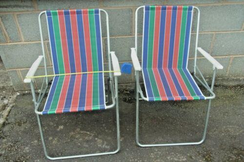 2 X FOLDING GARDEN CHAIRS  FABRIC SEAT//GARDEN//CAMPING