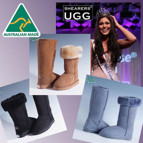 Echte HANDGEMACHTE Australia SHEARERS UGG Stiefel Wolle Schaffell Classic Tall Boots