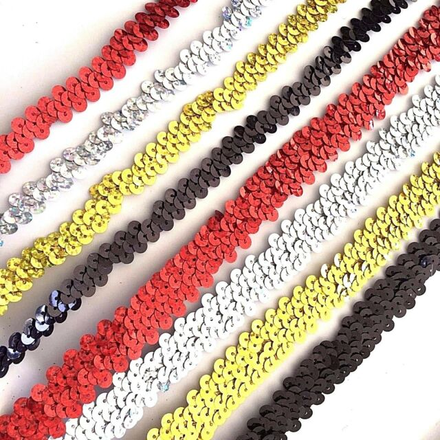 1 Row 2 Row Stretch Elastic Laser Sequin Trim Lace Braid Ribbon Dance Costume 1M