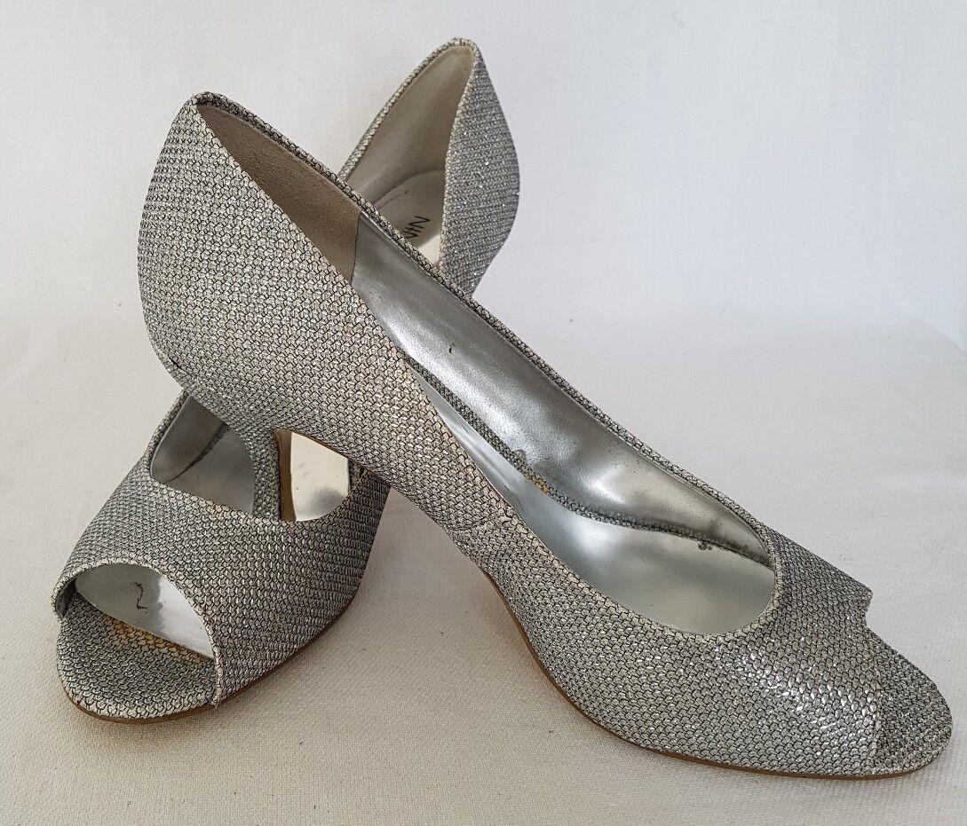 Nine West Ladies Silver Glitter Peep Toe Ocassion Party Shoes US 7W UK 5 EU 38