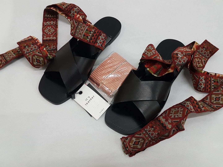 Zara mit Flach Leder Rutschen Sandalen mit Zara Auswechselbaren Schleife Aufdruck UK 7 c18603