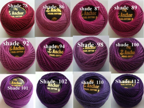 ANCHOR Pearl Cotton Crochet Embroidery Thread Balls Ball.Choose from 220+Colours