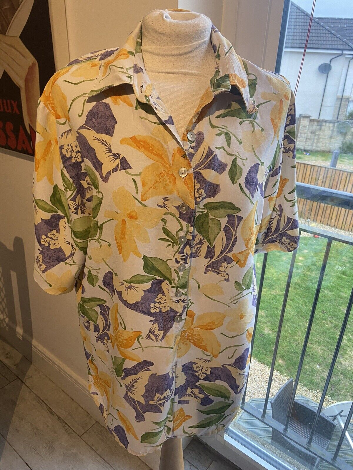 VINTAGE 80's WHITE & YELLOW FLORAL NEW WAVE BLOUSE SHIRT LARGE UK 16