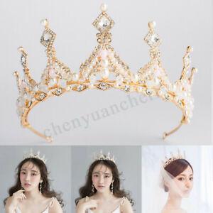 Bridal-Wedding-Baroque-Crown-Queen-Princess-Crystal-Tiara-Women-Hair-Headband