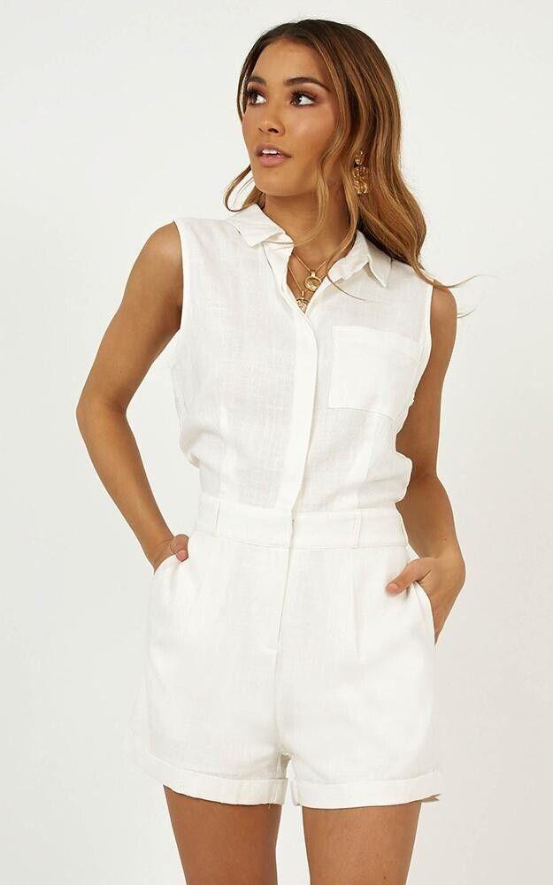 Showpo. Feeling Great Playsuit In White - Size S   UK8 , BNWT