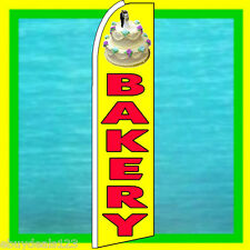 Bakery With Cake Swooper Flag Advertising Sign Feather Flutter Bow Banner