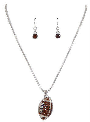 Silvertone Brown Crystal Rhinestone Football Pendant Necklace Set