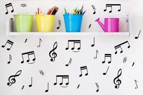 32 Music Notes Fridge Vinyl Wall Stickers Decal Car Laptop Many colours.