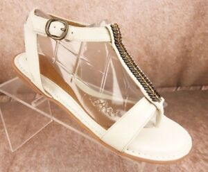 cac8bf9e226 NEW NURTURE Cleo Sandals Women s 10 White Leather Shoes T-Strap ...