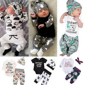 US Stock Newborn Baby Boy Bodysuit Outfit Romper Tops Pants Hat 3Pcs Clothes Set
