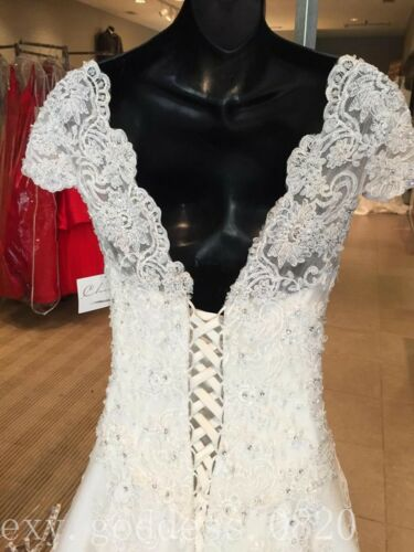 Lace Appliques Beaded Wedding Dresses Cap Sleeve White//Ivory Beach Bridal Gowns