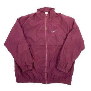 NIKE-SWOOSH-Mens-Maroon-Purple-Windbreaker-Jacket-Large-Polyester-VTG-Y2K