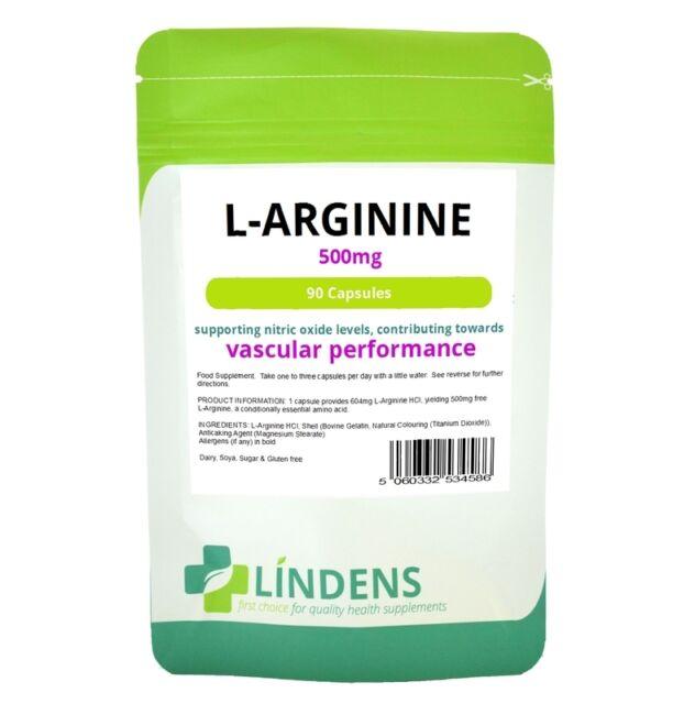 Lindens L-Arginine 500mg 90 Argi Capsules L Arginine Nitric Oxide