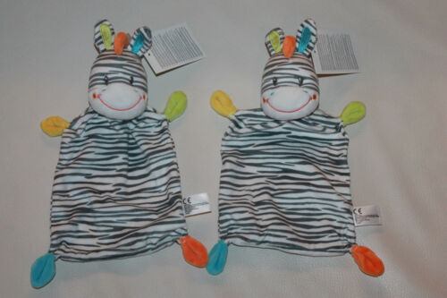 Nicotoy Zebra Pferd 2x Schmusetuch Kuscheltuch Schnuffeltuch 25cm NEU