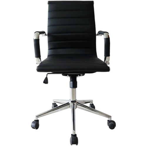 Modern PU Leather Office Chair Ribbed Low Mid Back Design Conference Room