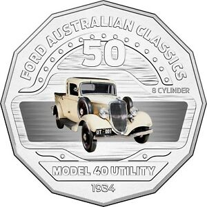 2017-Australia-50c-Coloured-Unc-Coin-1934-Model-40-Coupe-Utility-FORD-Car