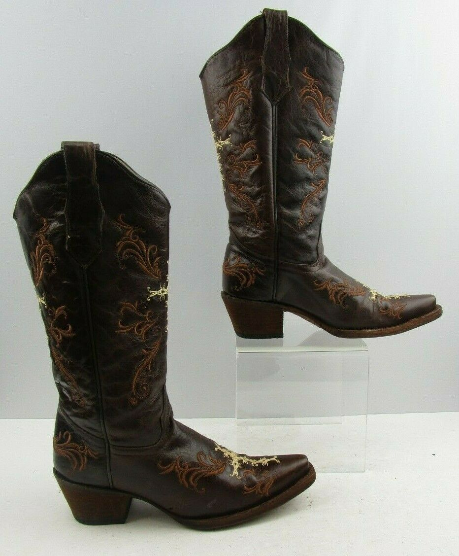 Ladies Circle G Brown Leather Cowgirl Western Boots Size   8 M