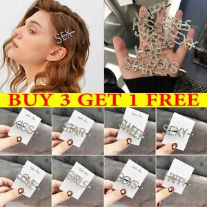 Women Crystal Hair Clip Girls Diamond Geometric Hairpin Barrette Slide Grips UK