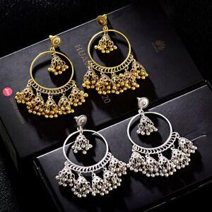2 Pairs Women's Oxidized Metal Gold Silver Carving Bells Jhumka Jhumki Earrings