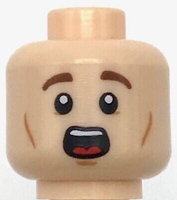 Lego New Minifigure,Head Dual Sided Male Brown Eyebrows White Pupils Chin Dimple