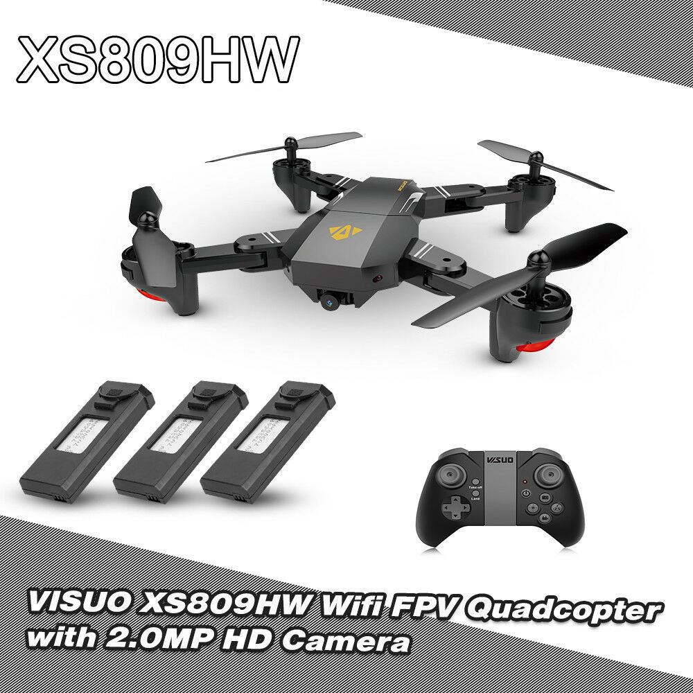 VISUO XS809HW 2.0MP 720P Wide Angle Selfie RC Drone 2.4GHz 6-Axis with 3 Battery