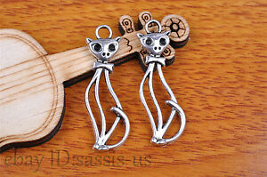 10pcs-34-11mm-Charm-cate-cat-pendant-Diy-Jewelry-For-Bracelet-Tibet-Silver-7128