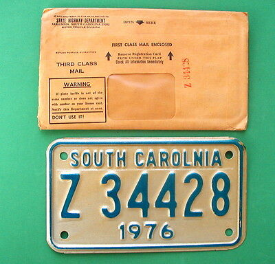 South Carolina Misspelled (South Carolnia) Motorcycle License Plate See Pics
