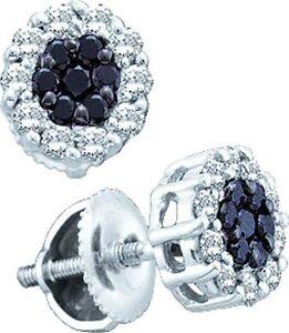 Fine Jewelry Disciplined New 14k White Gold Genuine Black/white Diamond Flower Stud Earrings 0.5ct 3l