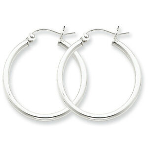 925-Sterling-Silver-Rhodium-Plated-2mm-x-25mm-Round-Polished-Hoop-Earrings