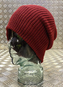 Dark-Red-Maroon-Knitted-Beanie-Hat-Woolly-Hat-Wool-One-size-NEW