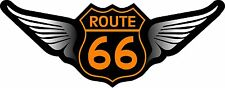 "1 - 2.75""x 7"" Route 66 Decal Sticker Black Orange Winged Harley US Highway 814"