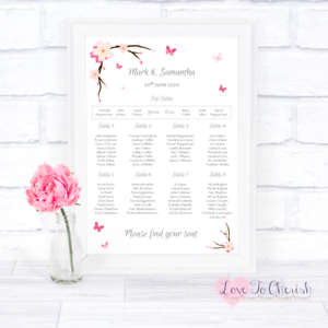Pink Cherry Blossom /& Butterflies Personalised Wedding Table Seating Plan