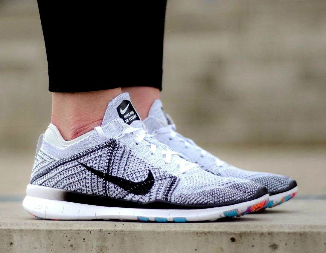 Nike Free TR Training Flyknit White Black Grey Platinum Wmn Sz 10.5 718785-100