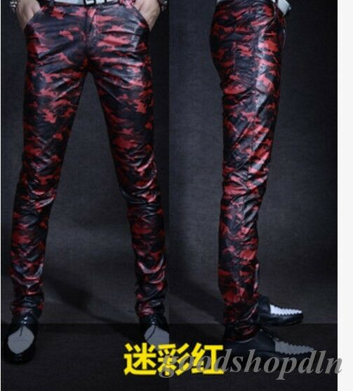 2019 Men's Leather Skinny Nightclub Motorcycle  Pants Trousers Sports Newgd777