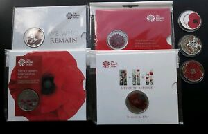 2015 2016 2017 2018 Centenary WW1 World War 1 Remembrance Poppy £5 Five BU Coin