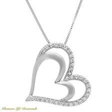 "0.4 Ct Heart Shape Brilliant Diamond Pendant Solid 14k White Gold 18"" Necklace"