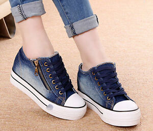 9f227bb025c Details about Women Lady Sneaker Platform Wedges Denim Side Zipper Casual  Canvas Lace Up Shoes