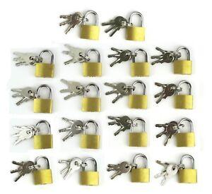 18 Small Metal Padlock Mini Brass Tiny Box Travel Locks Keyed Jewelry 2 Key 20mm