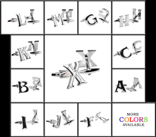 Mens Silver Polished Metal Initial Cufflinks Capital Letter Alphabet Cuff link
