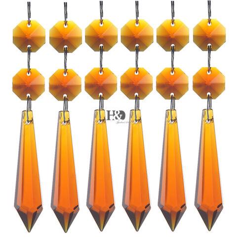 50pcs Amber Chandelier Glass Crystals Lamp Prisms Parts Hang Drops Pendants 55mm